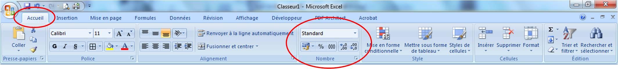 Groupe Nombre de l'onglet Accueil du ruban Excel
